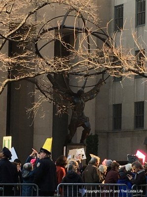 Atlas on Fifth Avenue during the Women's March on NY 1-21-17