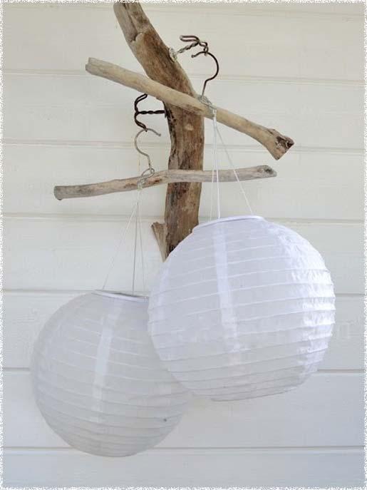 hvite papir lanterner uten lys