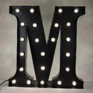 Marquee lysbokstav sort M