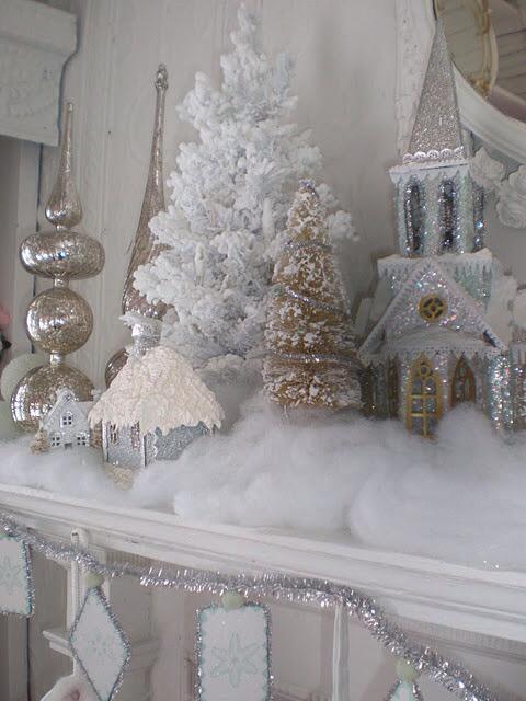 julepynt hvitt og sølv med glitter