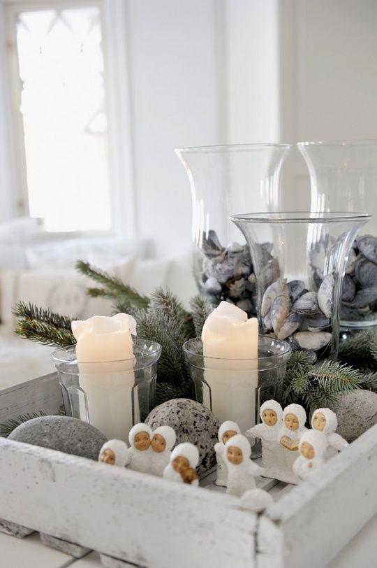 juledekorasjon med engler og blåskjell