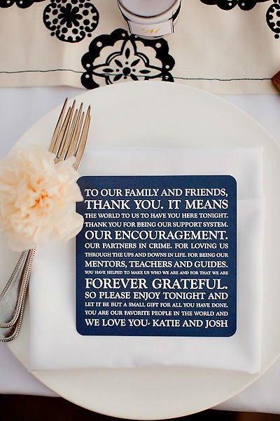 Takkekort på tallerken i bryllup