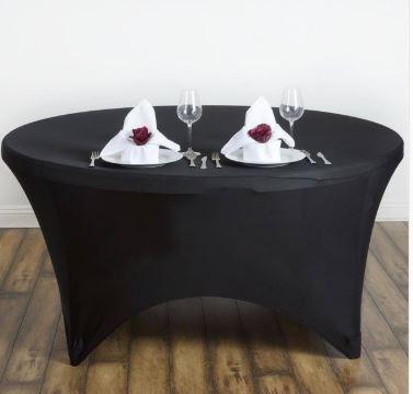 Bordtrekk spandex rundt bord sort