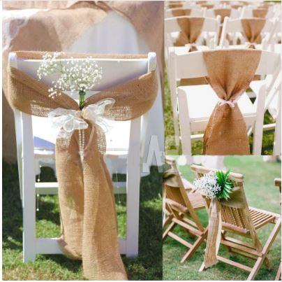 Jute sløyfebånd til stol utendørs bryllup låvebryllup