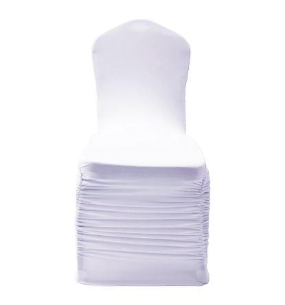 Rufflet stoltrekk med pynt på rygg hvit forside