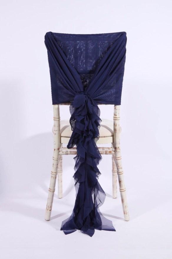 Stor dekorsløyfe til stol mørk blå