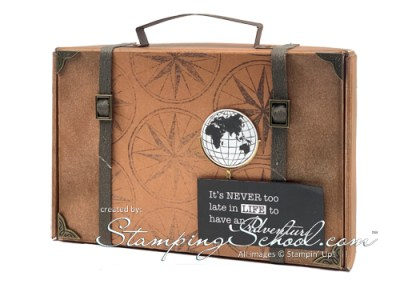 Old World Suitcase Note Card Holder