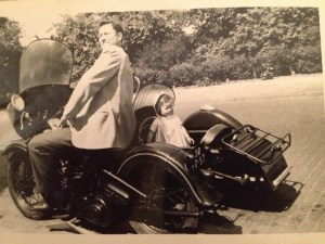 Dad and me in the sidecar