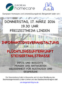Infoveranstaltung Steigertahlstraße 17.03.2016 Plakat