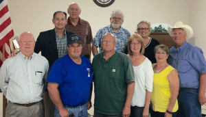 Member of Linden Heritage Foundation, Linden City Council, and Linden Economic Development Corporation following approval of Council Resolution required to proceed with application to 2017 Texas Main Street Program. Top row (left to right): Sam Higdon, Clarence Burns, Richard Bowden, Emily Henderson, and Bob Swisher. Bottom row: Kenny Hamilton, Mike Berry, Chuck Evans, Sue Lazara, and Ruth Halleck.