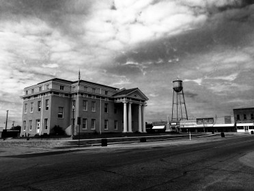 View of Cass County Courthouse from the northeast with Linden's 1934 historic water tower in background
