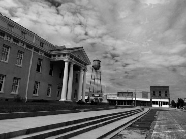 East step of Cass County Courthouse looking west