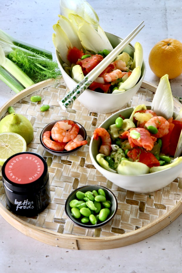 Fenchel-Salat  mit Lachs  Bowl auf Tablett mit den Zutaten angerichtet