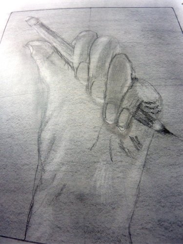 Hand holding an object. Less successful than the simple hand but still better than I expected.