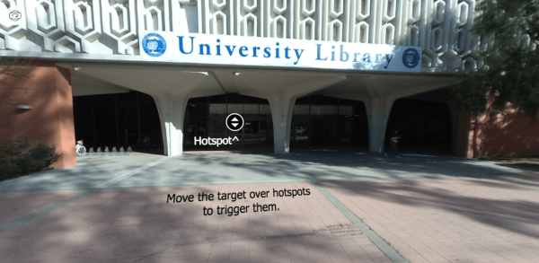 Screenshot of library tour virtual reality project