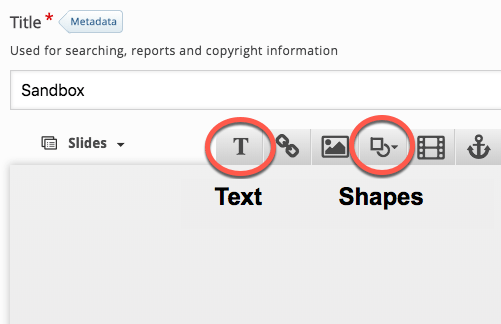 text and shapes buttons highlighted in menu bar