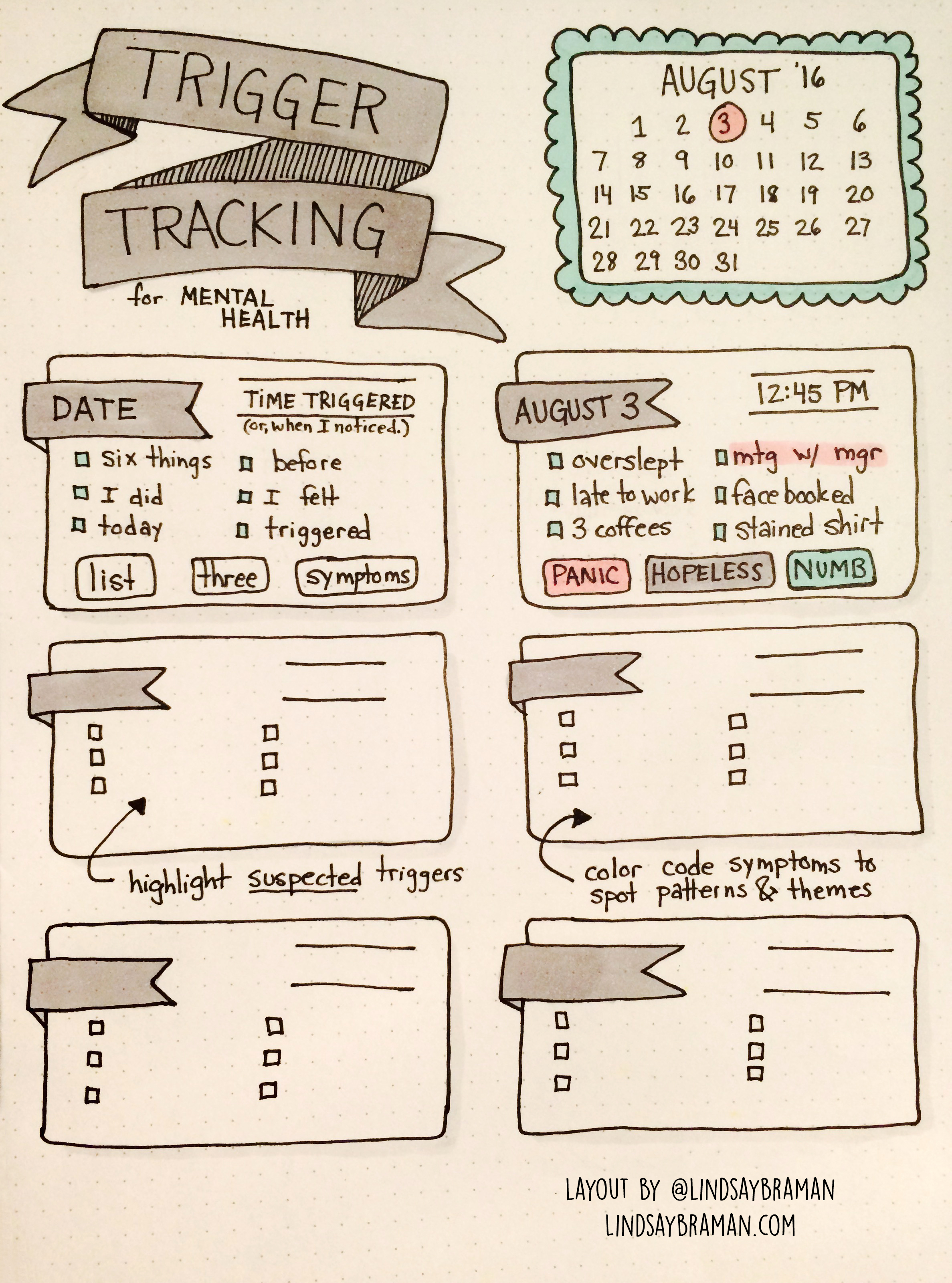 Bullet Journal Mental Health Layout Tracking Triggers