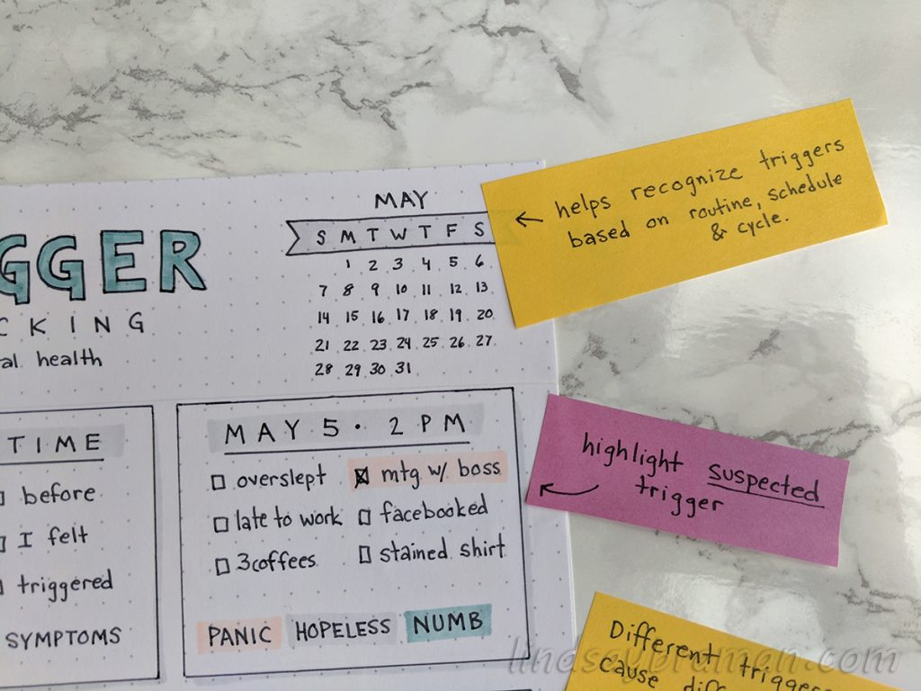 Trigger Tracker Worksheet For Mental Health Journaling And