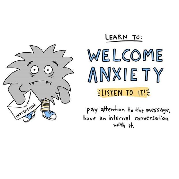 """Anxiety isn't our enemy. It's so easy to slip into a cycle where we have anxiety, then have anxiety about having anxiety, have anxiety about that, etc until our world gets very small. One way to interrupt this pattern is to open up conversation with your anxiety. What is it *really* saying? Whats the unmet need? Validating the need with self-compassion can lower anxiety and, with practice, break the cycle....PRO-TIP: Research shows that with performance related anxiety, people who have the anxiety conversation but tell their brain to reframe it as """"EXCITEMENT"""" perform better and have lower anxiety than those who don't. .....#mentalillnessawareness #socialanxiety #anxietydisorder #mentalhealthawareness #depression #mentalhealth #anxiety #psychotherapy #therapy #psychology #counseling #mentalhealth #selfcare #therapyworks #counselor #wisdom #counselingworks #psychotherapyworks #therapylife #psychotherapist #healing #selfcare #counselor #mindfulness #doodles"""