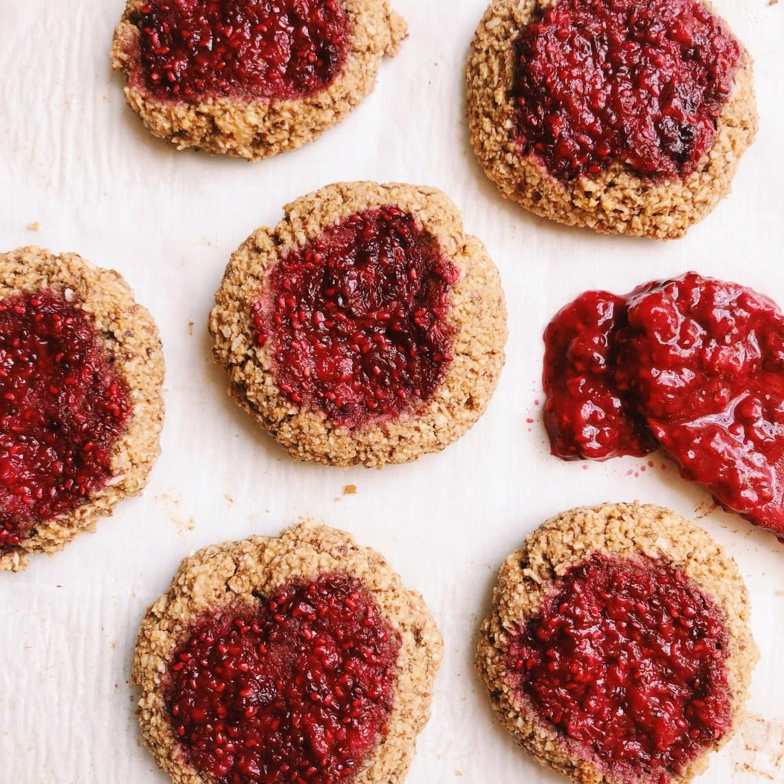 Cashew butter raspberry jam cookies