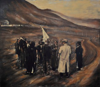 """Raising the white flag for safe passage"" / Oil on Canvas / 84"" x 72"" / For Sale"