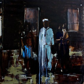 """Sister Sailor Wife Baby / Oil on Canvas / 36"""" x 36"""" / For Sale"""