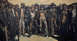"""Strikers Stand"" / Oil on Canvas / 132"" x 72"" / For Sale"
