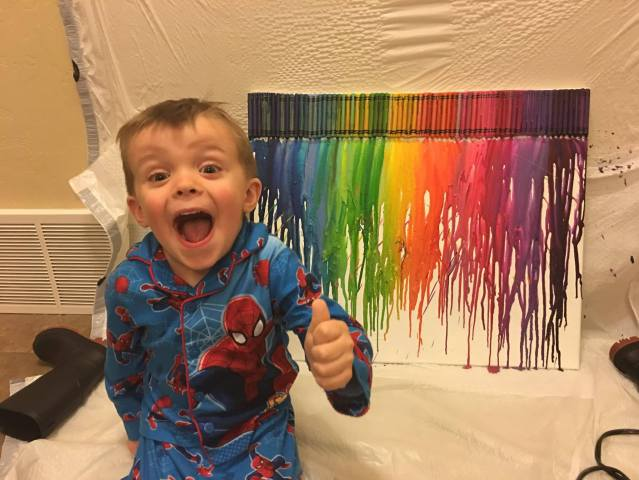 mommy and me melting crayon canvas art