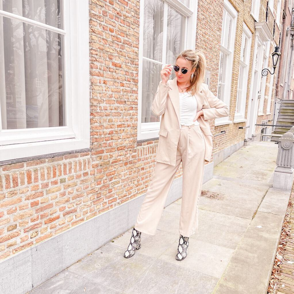 oversized beige suit