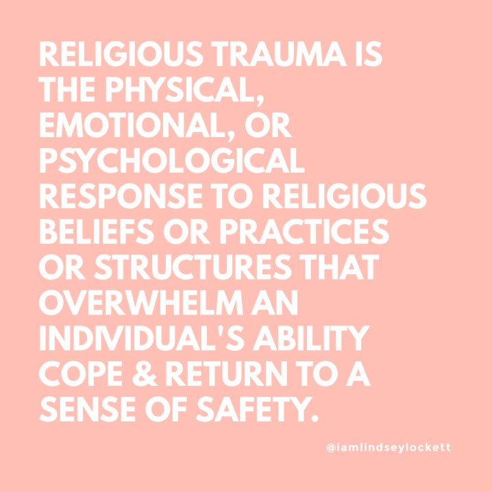 light pink square with white text which states the definition of religious trauma