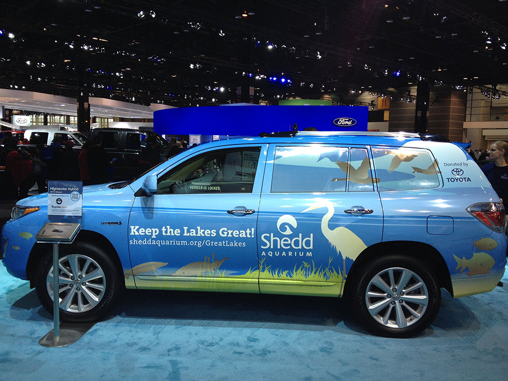 A side view of a Toyota SUV, wrapped front to back with an illustration of idyllic Great Lakes scenery featuring canada geese and a great egret.