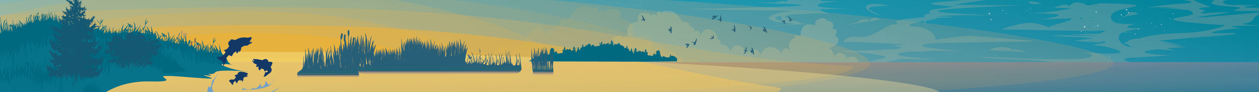 A section of the Great Lakes header illustration, showing grassy marshland in a wide expanse of lake water as the orange glow of the sun recedes from east to west.