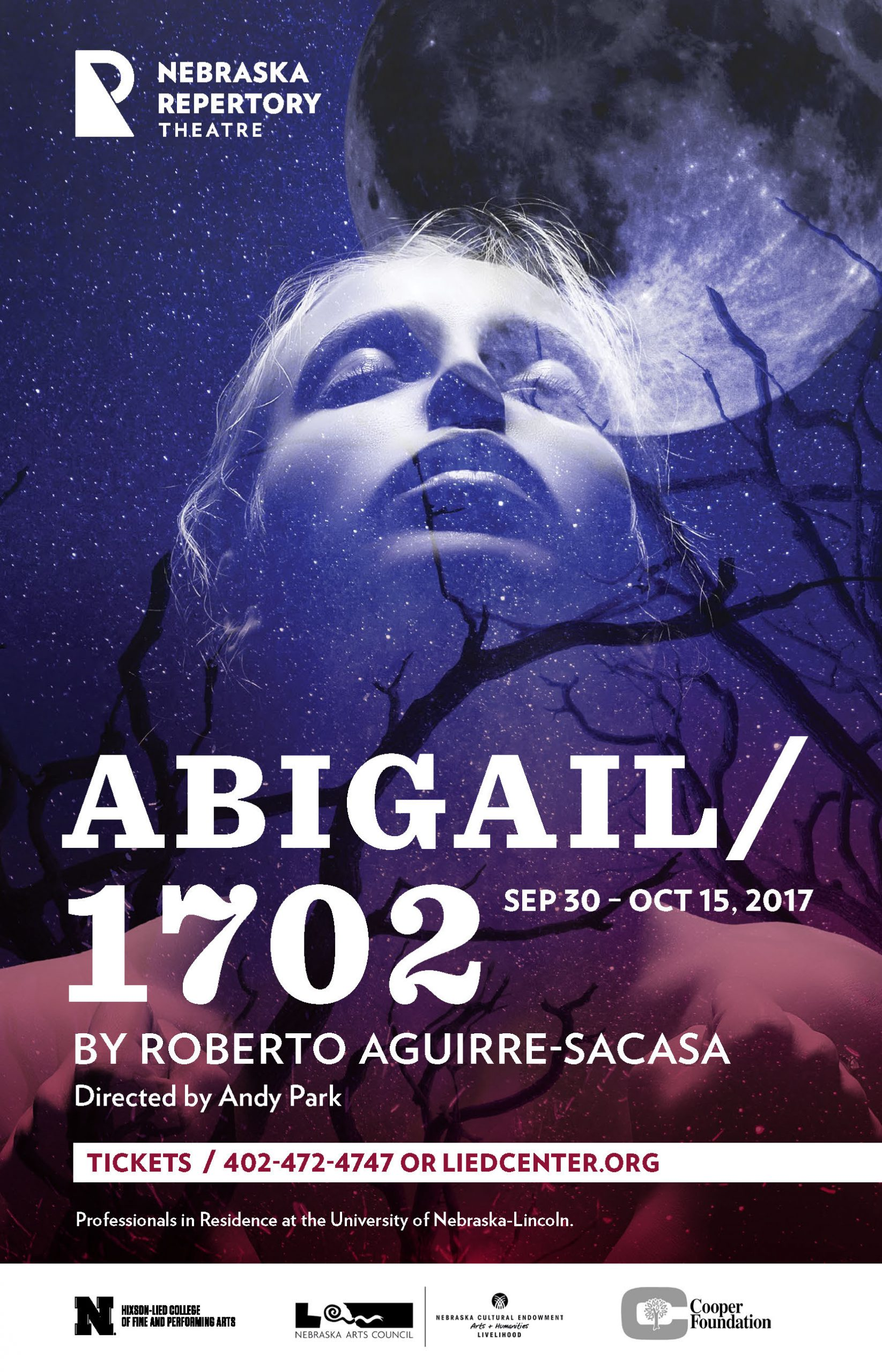A poster with the headline 'Abigail/1702' overlaid on a moody purple-and-black image of a girl with her face upturned in a dark forest.