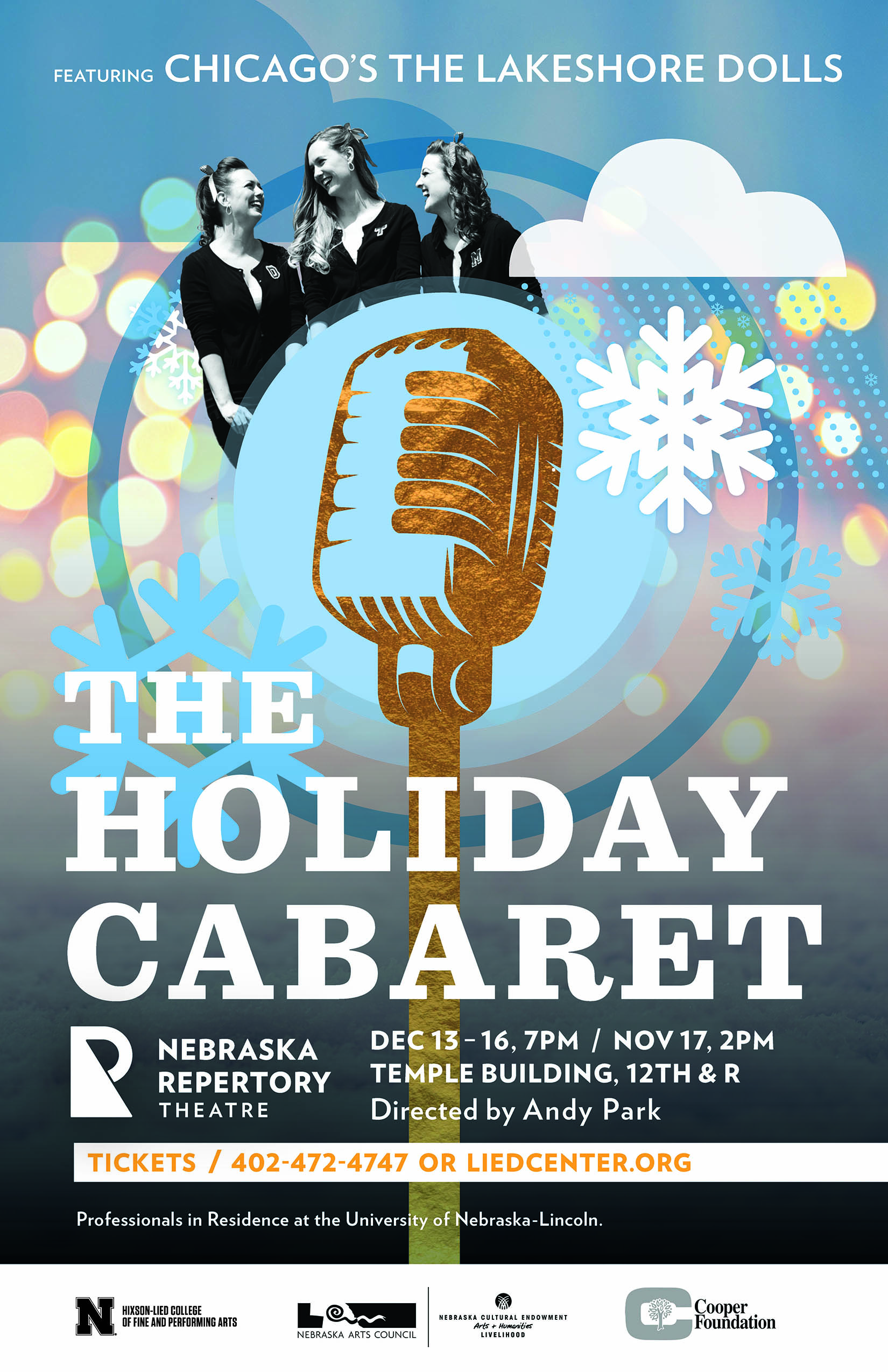 """A poster featuring the words """"The Holiday Cabaret"""" overalid on a playful illustration of an old-fashioned microphone and colorful bocce lights."""