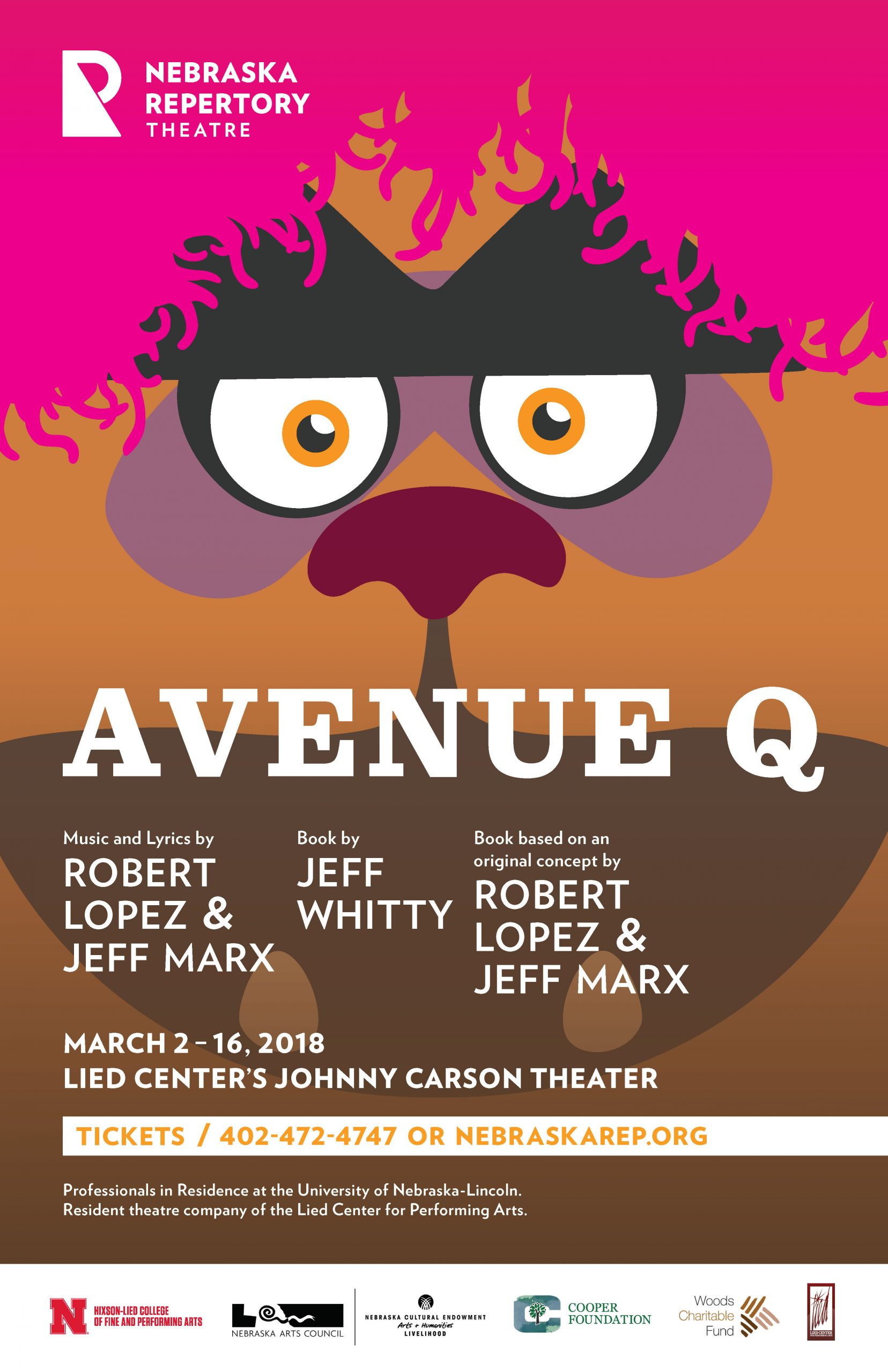 """The title """"Avenue Q"""" is overlaid over the large stylized illustration of a muppet face with googly eyes and bright pink hair."""