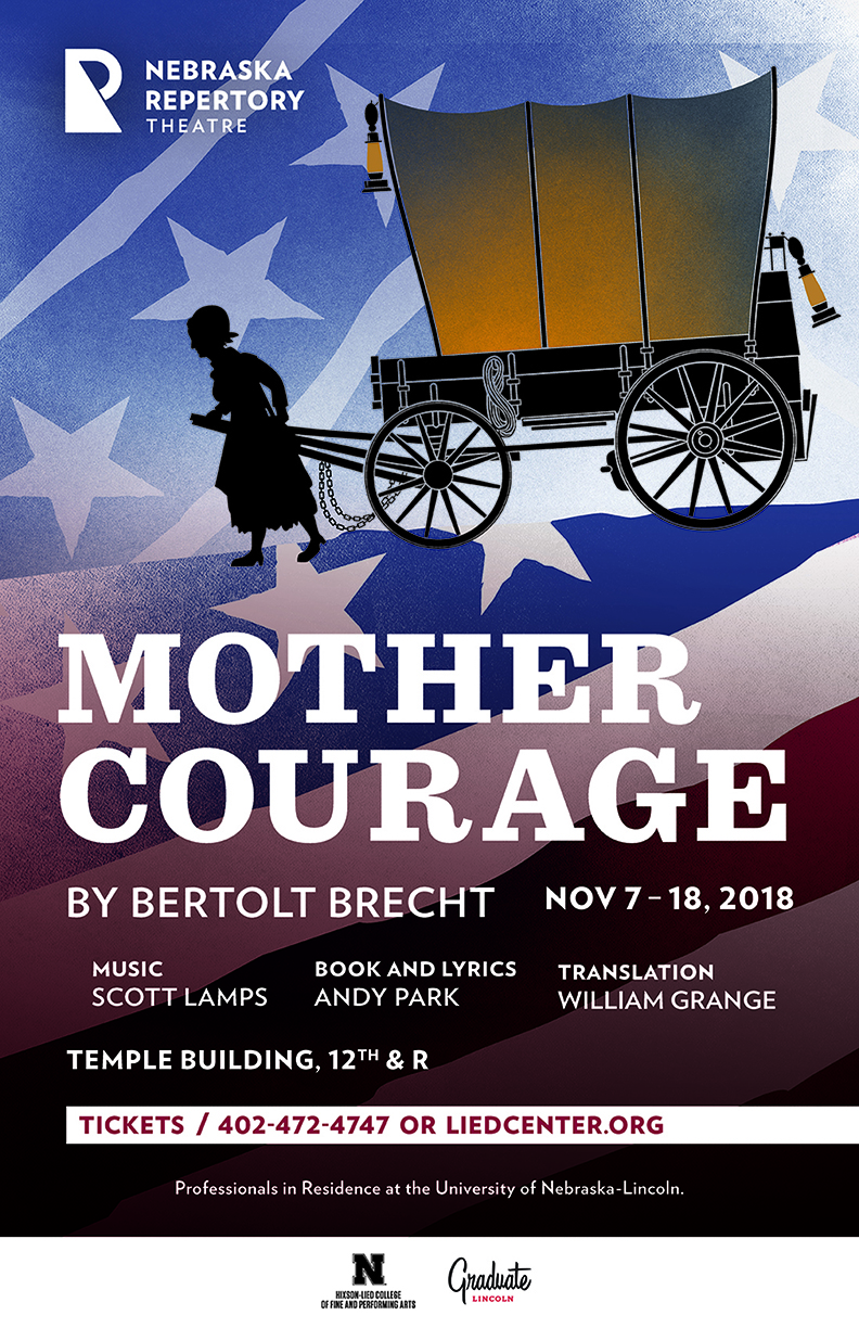 A soman pulls a covered wagon with the title 'Mother Courage' below her. The background features a confederate flag, and the foreground that she is walking on depicts the union flag.