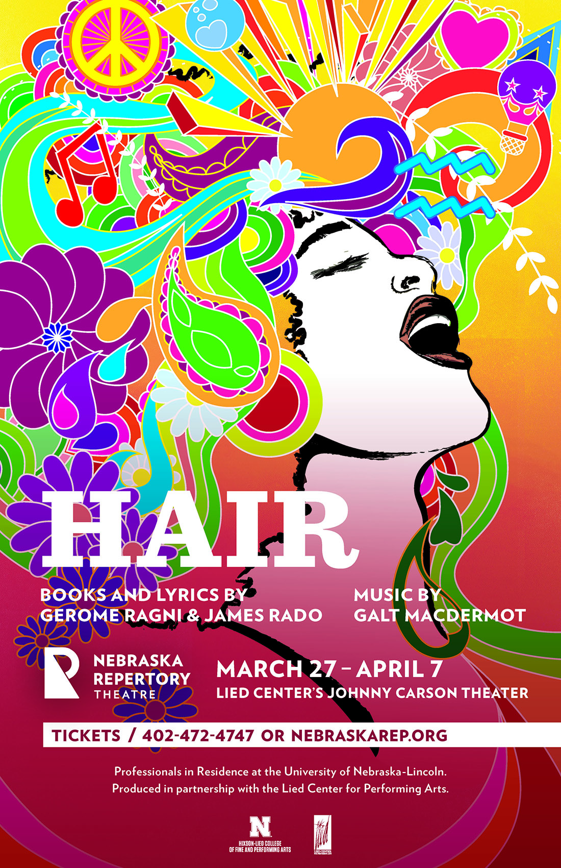 A poster featuring a woman who appears to be singing exultantly; her face is framed in brightly colored shapes, flowers and music notes. The headline of the poster reads 'Hair'.
