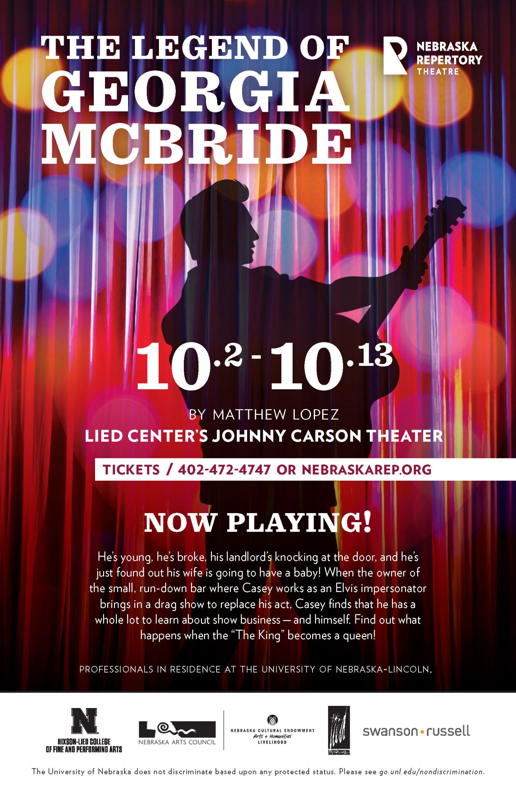 A poster with the title 'The Legend of Georgia McBride' featuring a silhouette of a man playing a guitar in front of a red curtain. The man resembles Elvis Presley.