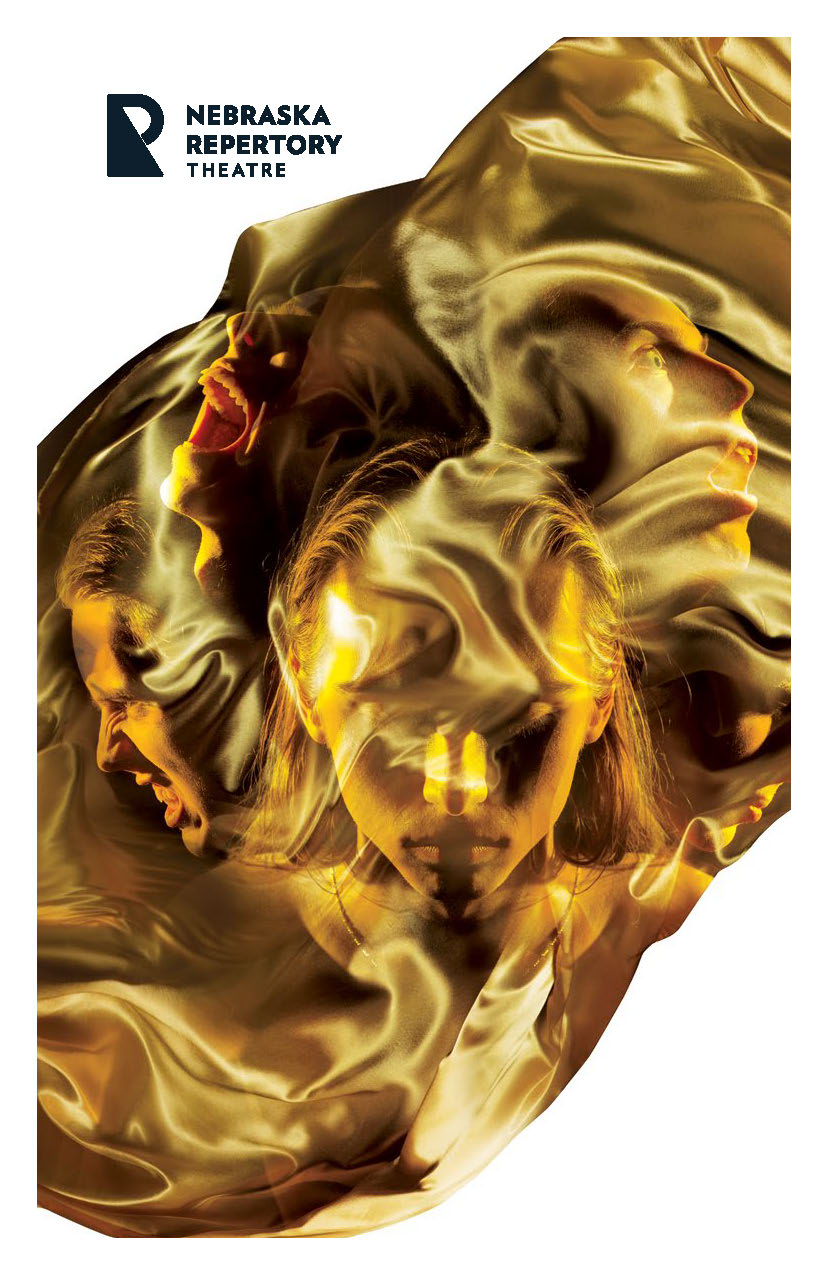 The cover of a program, featuring a swirling gold cloth overlaid with dramatically contorted faces.
