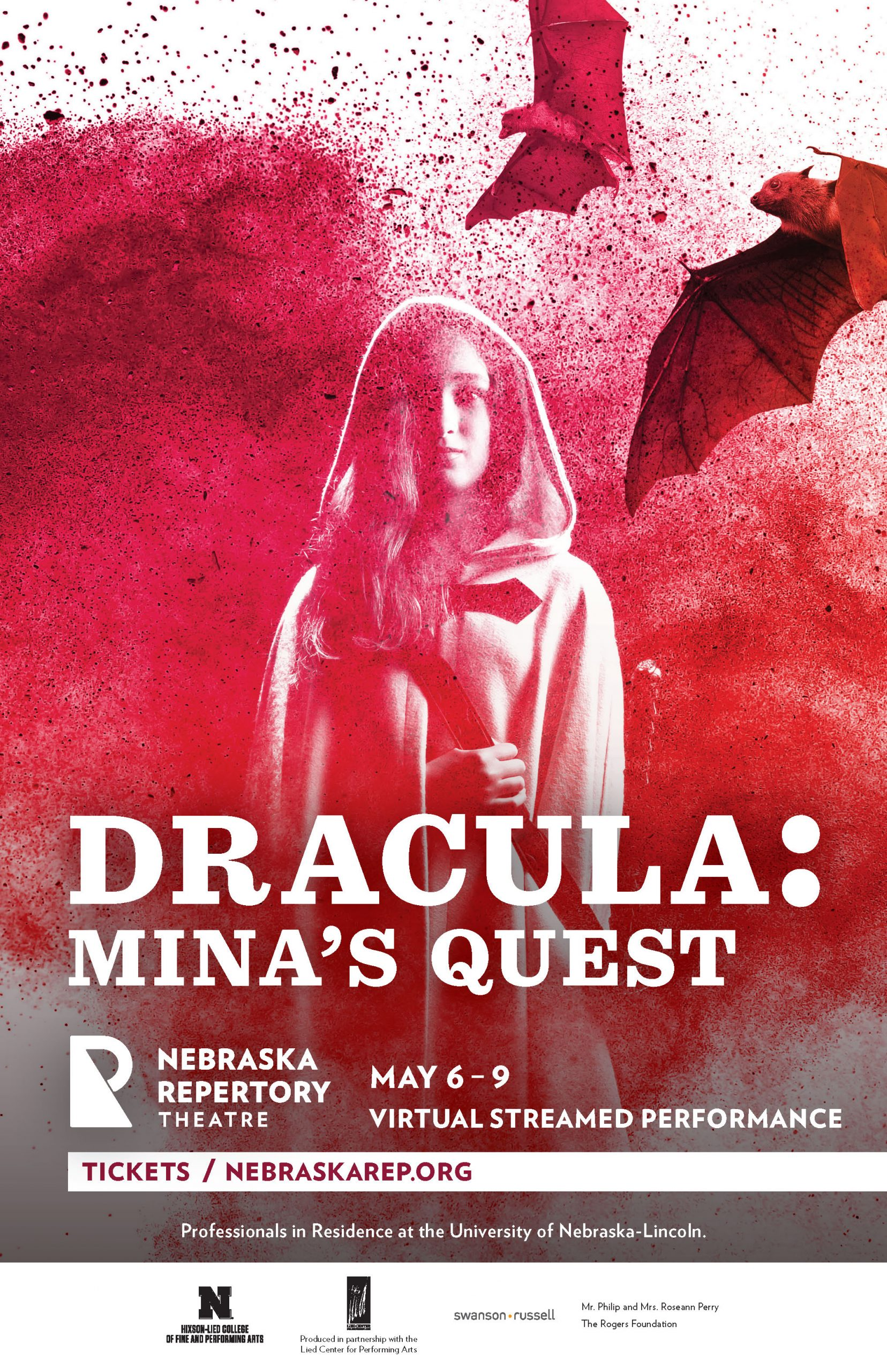 A poster for a play called 'Dracula, Mina's Quest'. A girl in a hooded cape stands in front of a dramatic explosion of powder, as bats fly overhead.