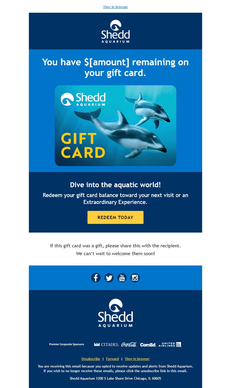"""An email featuring a large image of a gift card with two dolphins. Text above the image says, """"You Have $[amount] remaining on your gift card."""""""
