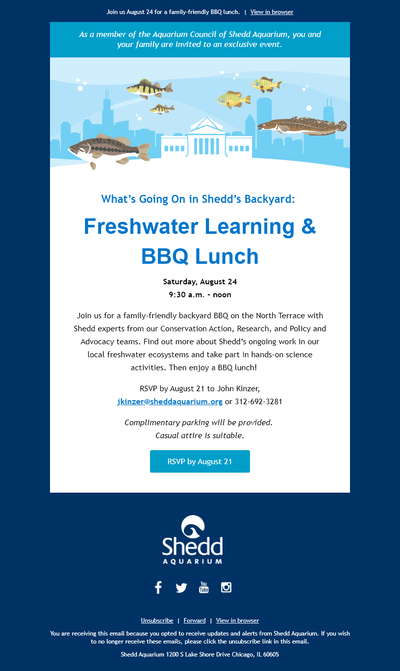 An email invitation to a Know Your Aquarium event, featuring an icon of the Shedd building surrounded by freshwater fish and the title, 'Freshwater Learning & BBQ Lunch'.