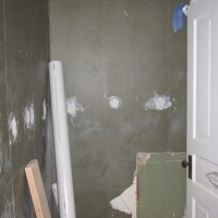Beautifying a Half Bath - Paper Removal, Plaster Repair, New Floor