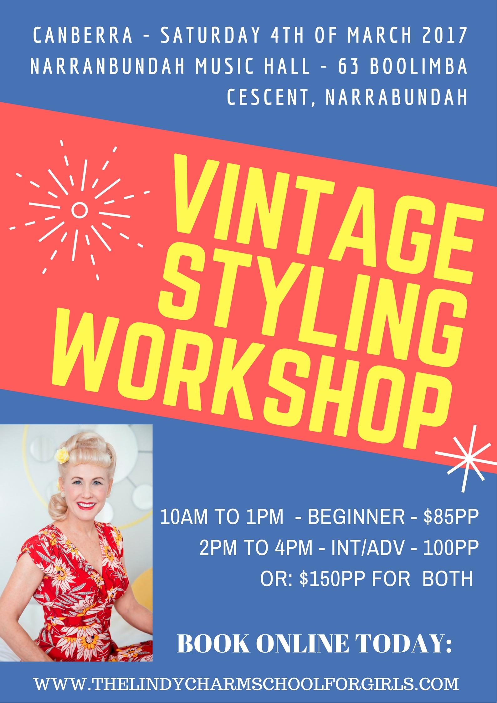 08b254b820 Vintage/Retro/Pinup Hair and Makeup Workshops - Saturday 4 March ...