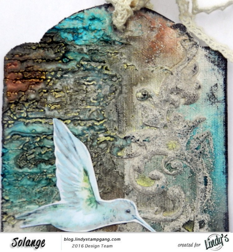 Tag by Solange Marqus using Lindy's Stamp Gang sprays and embossing powder-02