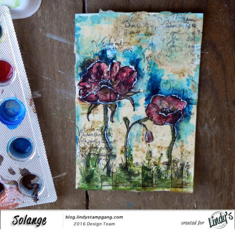 watercolor on tea bag by Solange Marques using Magical Lindy's Stamp Gang -6