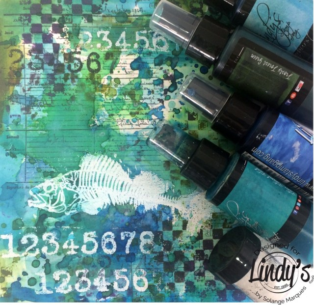 Art Journal Page by Solange Marques with Lindy's Stamp Gang products-11