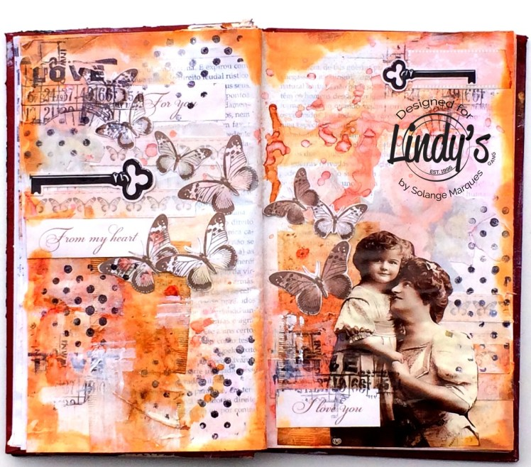art journal pages by Solange marques with Lindy's Stamp Gang products-06