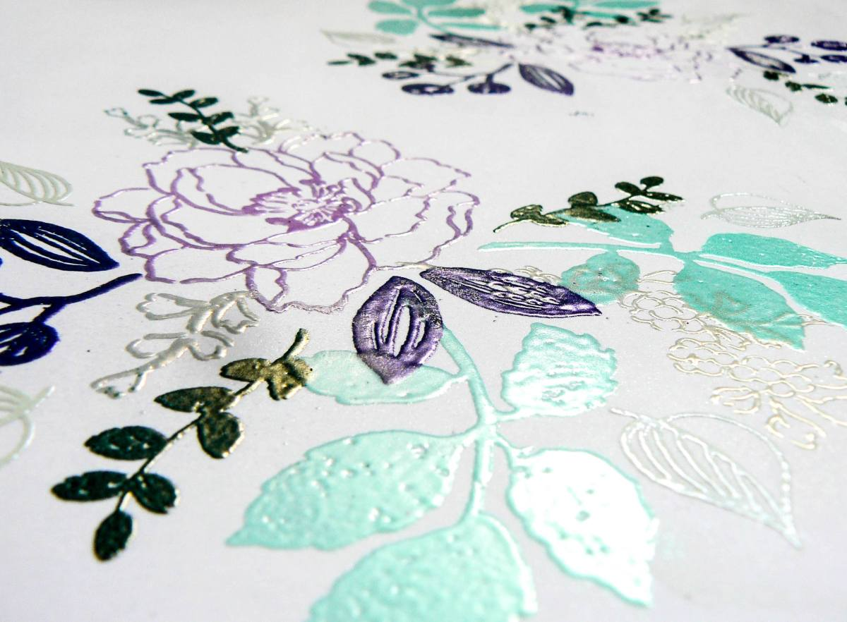 Create a background with embossing powders.