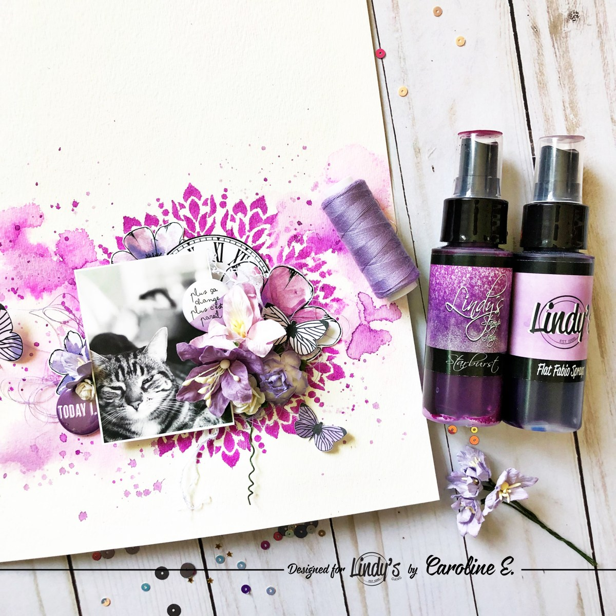 Watercolor Stenciled Layout with Caroline